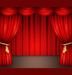 Red curtain with drapery on theater stage vector