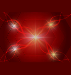Red hexagon and light technology abstract vector