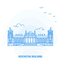 reichstag building blue landmark creative vector image