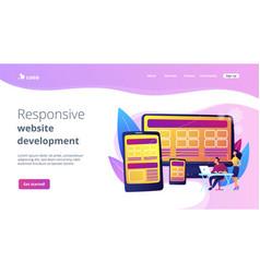 responsive web design concept landing page vector image