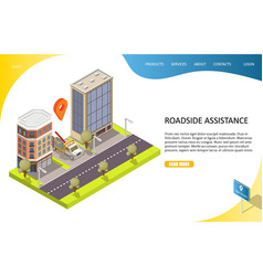 roadside assistance landing page website vector image