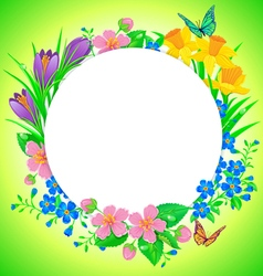 Round banner spring flower vector image