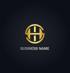 round h initial gold logo vector image