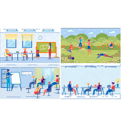 school classes and lessons with teacher and pupils vector image