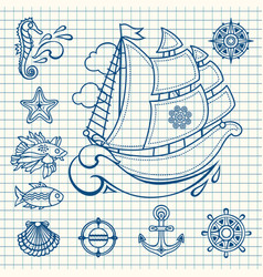 sea set sea and nautical decorations vector image