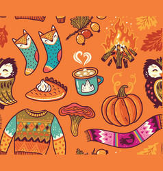Seamless autumn background with pumpkin owl vector