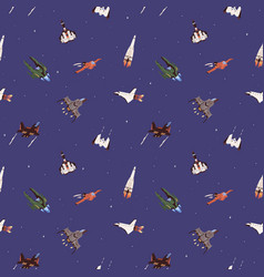 seamless cosmic pattern with spaceships vector image
