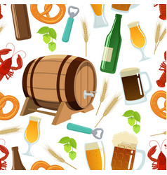 seamless pattern of beer icons vector image