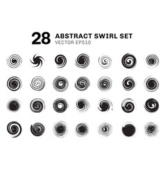 set abstract black spirals and swirl motion vector image