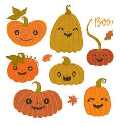 set halloween pumpkins isolated on white vector image
