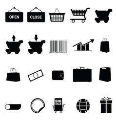 shopping icon set black vector image