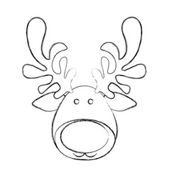 Silhouette blurred cartoon funny face reindeer vector