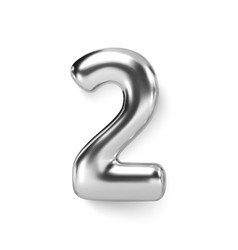 Silver number balloon 2 two realistic 3d vector