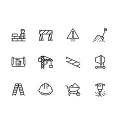 simple set symbols building construction vector image
