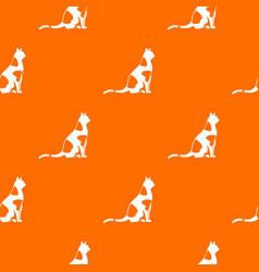 sitting cat pattern seamless vector image