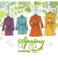 Spring Fashion Woman coats setLeaves decor vector image