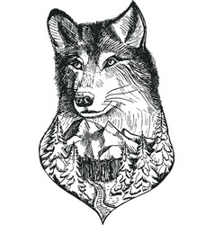 Stylized wolf head with nature landscape vector