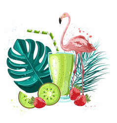 summer tropic flamingo and fruits smoothie vector image