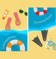 Summertime and beach vacation posters set vector