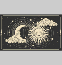 Sun and a crescent moon with a face on a black vector