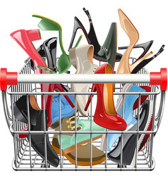 Supermarket cart with shoes vector