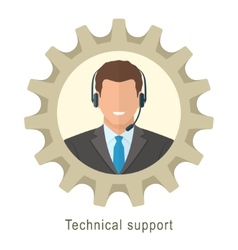 Technical support man with headphones vector image