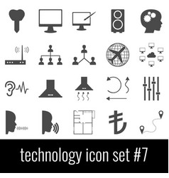technology icon set 7 gray icons on white vector image