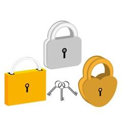 Three padlocks vector