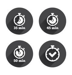 Timer icons Fifty minutes stopwatch symbol vector
