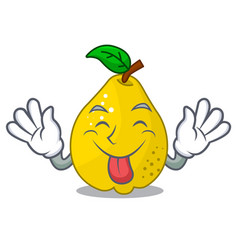 tongue out sweet quince isolated on mascot cartoon vector image