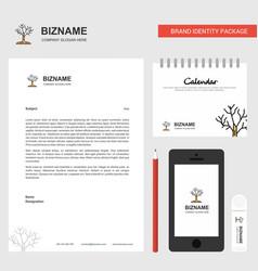 Tree business letterhead calendar 2019 and mobile vector
