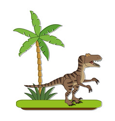 trex dinosaur on forest cartoon vector image