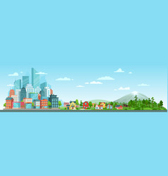 urban and nature landscape modern city buildings vector image