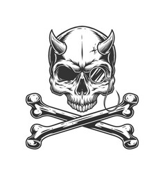 Vintage monochrome demon skull without jaw vector