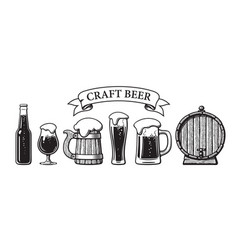 vintage set craft beer objects bottle glasses vector image