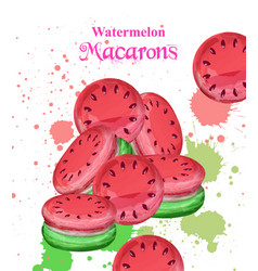 watermelon macaroons dessert fresh and vector image