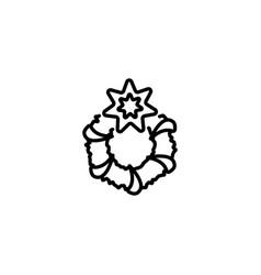 web line icon christmas wreath black on white vector image