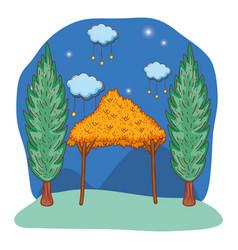 Wooden manger cartoon vector