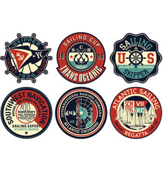 yachting sailing badges collection vector image