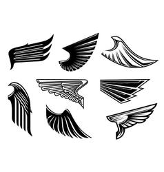 Black heraldic and tribal wings elements vector image vector image