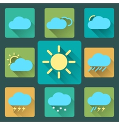 Flat Weather icons and set Long Shadows Seasons vector image