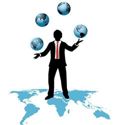Global business man juggles business worlds vector image