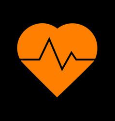 heartbeat sign orange icon on black vector image