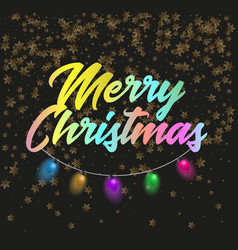 merry christmas poster with lights vector image