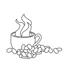 monochrome contour with hot cup of coffee and vector image vector image