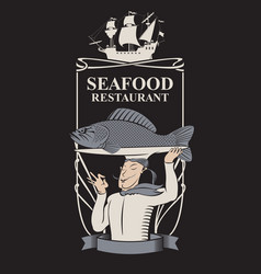 seafood restaurant with chef fish and sailboat vector image