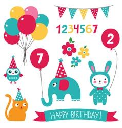 Kid birthday set vector image vector image