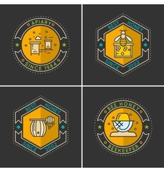 Modern linear emblem for beekeepers vector image vector image