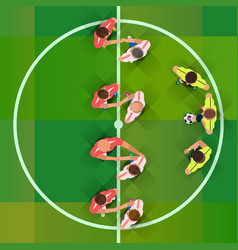 soccer handshake of two football pass before the vector image vector image