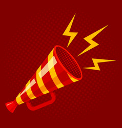 striped megaphone on red background vector image